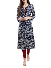 Blue Rayon Printed A-line Kurta - By