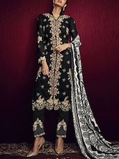 black  semi-stitched churidaar suits -  online shopping for Semi-Stitched Suits
