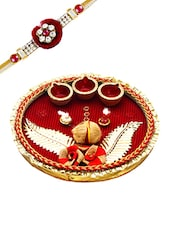Beautiful Red Shade Rakhi Pooja Thali With 1 Charming Rakhi - By