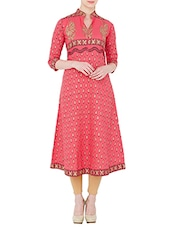 Pink Cotton Printed A-line Kurta - By