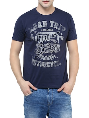 blue cotton t-shirt -  online shopping for T-Shirts