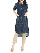 Blue Cotton Printed High-low Kurta - By