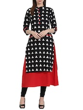 Black & Red Cotton Printed A-line Kurta - By