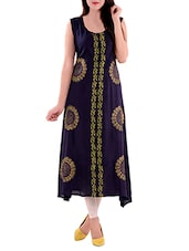 Navy Blue Rayon Printed A-line Kurta - By