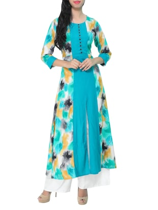 green rayon high slit kurta -  online shopping for kurtas