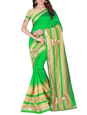 green raw silk embroidered saree -  online shopping for Sarees