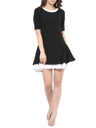 black crepe skater dress -  online shopping for Dresses