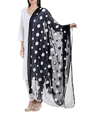 Black Poly Chiffon Embroidered Dupatta - By