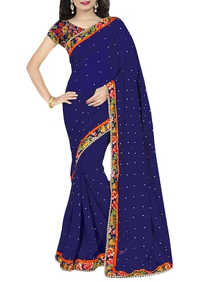 blue georgette embroidered saree -  online shopping for Sarees