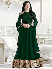 green faux georgette embroidered anarkali semi-stitched suit -  online shopping for Semi-Stitched Suits