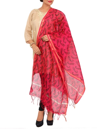 pink printed cotton dupatta -  online shopping for Dupattas