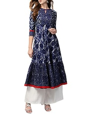 blue cotton printed anarkali kurta -  online shopping for kurtas