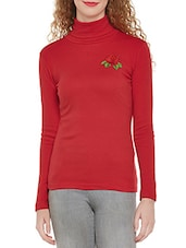 red cotton turtle neck tee -  online shopping for Tees