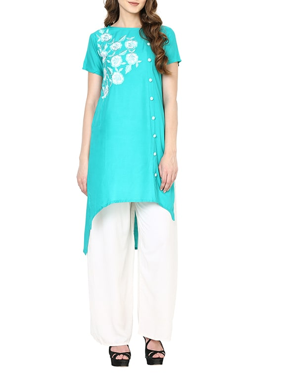 Turquoise Rayon Highlow Kurta - By
