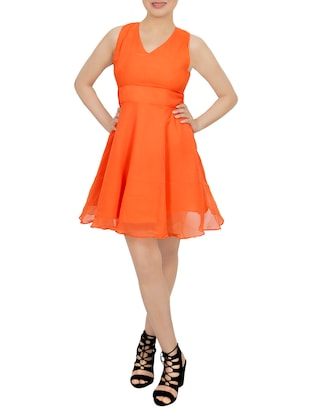 orange georgette fit & flare dress -  online shopping for Dresses