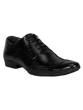 black Leather lace-up brouge -  online shopping for Brouges