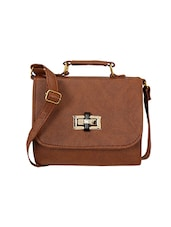 brown leatherette  regular sling bag -  online shopping for sling bags