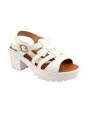 white faux leather back strap sandals -  online shopping for sandals