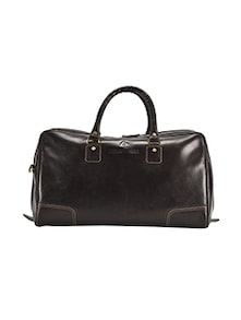 brown leather dufflebag