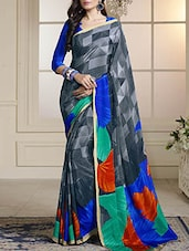Multi colored crepe printed saree -  online shopping for Sarees