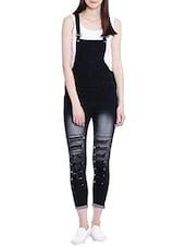 black denim dungaree jumpsuit -  online shopping for Jumpsuits
