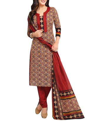 red cotton churidaar suits dress material -  online shopping for Dress Material