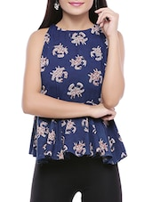 blue cotton peplum top -  online shopping for Tops