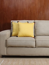 House This Mimosa Yellow Cotton Satin Set Of -2 Cushion Covers -  online shopping for Cushion Covers