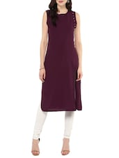 Purple Poly Crepe Straight Kurta - By