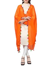 Orange Plain Dupatta - By
