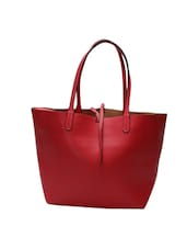red leatherette regular tote -  online shopping for Totes