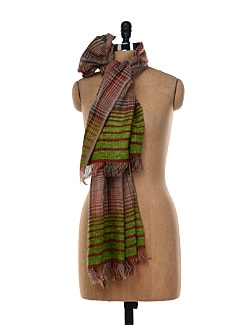 Green Striped Shawl - Shingora