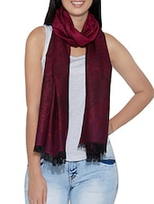 printed purple woollen stole -  online shopping for stoles