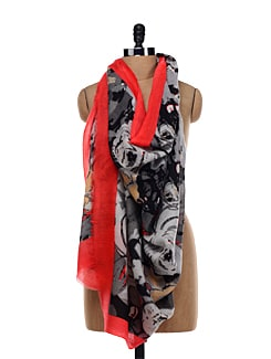 Red And Grey Shawl - Shingora