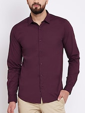 purple cotton blend casual shirt -  online shopping for casual shirts