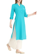 Turquoise Cotton Straight Kurta - By