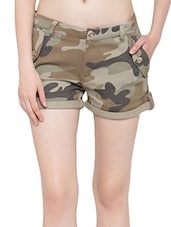 green printed cotton hot pants -  online shopping for Shorts
