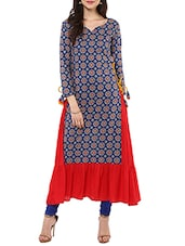 Blue & Red Cotton Flared Kurta - By