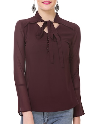 brown georgette casual top -  online shopping for Tops