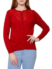 red wool cardigan -  online shopping for Cardigans