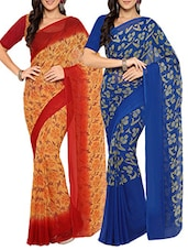 (Set of 2) Multicoloured faux georgette printed saree combo -  online shopping for Sarees