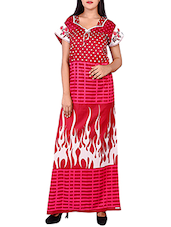 red printed cotton gown -  online shopping for Gowns & Kimonos