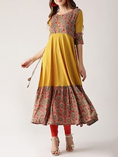 Mustard Rayon Flared Kurta - By