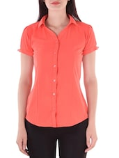 orange georgette casual shirt -  online shopping for Shirts