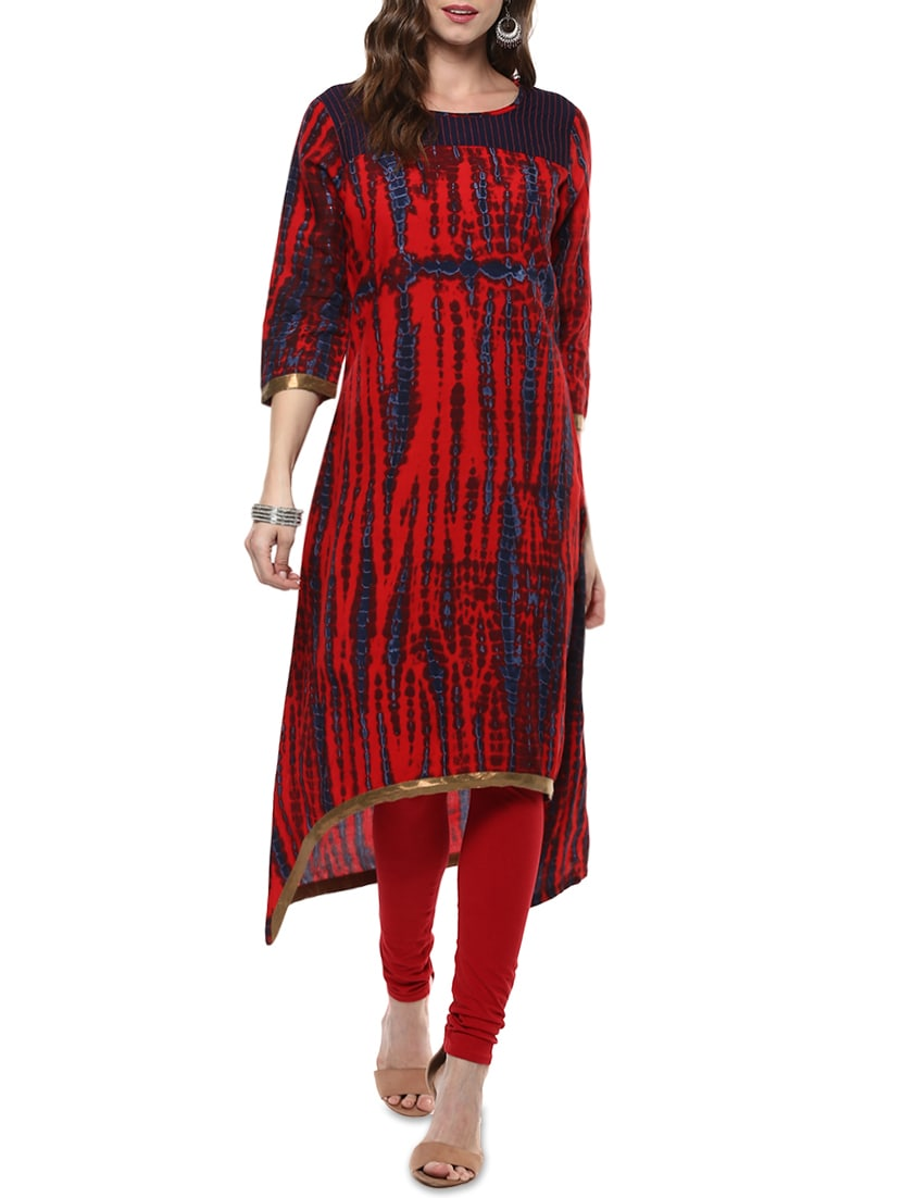 Red Rayon Highlow Kurta - By