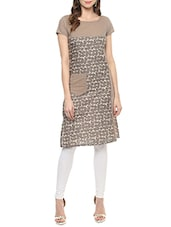 Brown Cotton Straight Kurta With Pockets - By