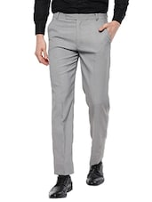 grey cotton blend formal trouser -  online shopping for Formal Trousers