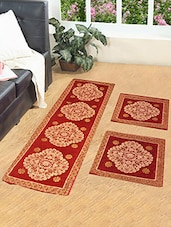 Chenille Floor Print Floor Runner With 2 Mats -  online shopping for Carpets