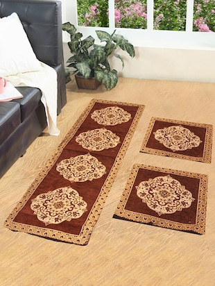 Chenille Floor Print Floor Runner With 2 Mats -  online shopping for Floor Runners