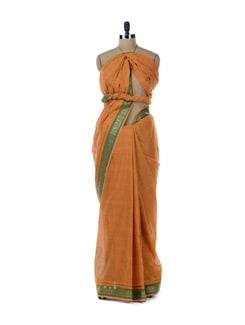 Orange Saree With Green Border - Platinum Sarees